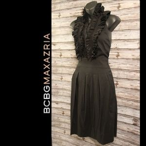 Ruffled Halter 1/4 Button Midi Dress by BCBGMax